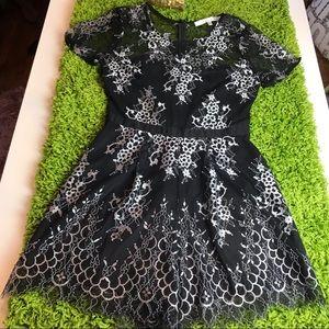 Lovers + Friends Black Lace Shorts Romper Jumpsuit